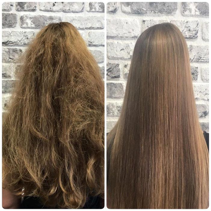 Permanenthaarglättung und Haarverlängerung